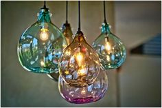 Jug Lamps by Cisco (hand-blown from recycled glass)- look amazing on a porch or in the bathroom