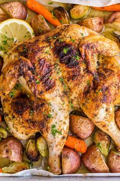 Spatchcock chicken recipe is our favorite way to roast a whole chicken. Every part of the roasted chicken turns out juicy and so flavorful with that garlic herb butter. Easy and delicious one pan chicken dinner! Whole Baked Chicken, Oven Chicken, Chicken Potatoes, Half Chicken, Baby Potatoes, Butter Chicken, Chicken Recipes Video, Roast Chicken Recipes, Kitchen Recipes