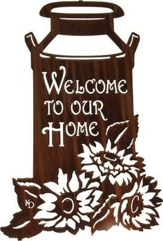 "Metal Wall Art ~ 22"" Milkcan with Sunflowers Welcome Sign"