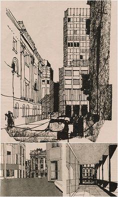 Alison & Peter Smithson, Economist Buildings, London -Gordon Cullen 1965 Space Architecture, Architecture Drawings, Autocad, Architect Sketchbook, Alison And Peter Smithson, City Sketch, Building Sketch, Urban Sketchers, Sketch Painting