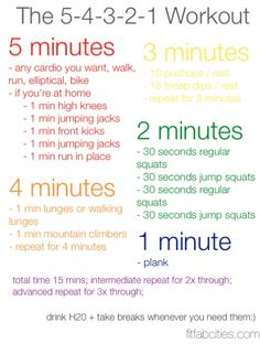 Printable 5-4-3-2-1 Workout…Cardio and Strength. For when someone is too tired to get a full workout in.