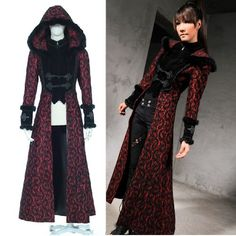 Women Red Hooded Victorian Gothic Fashion Clothing Dress Trench Coat SKU-11401237