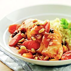 Moroccan Chicken Stew The inviting aroma of apricots, chicken, couscous, and garlic in your slow cooker makes you feel welcome when you come home after a busy day.