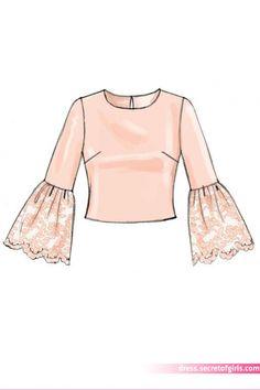 McCall's Sewing Pattern Misses' Scoop-Neck Tops Dress Design Drawing, Dress Design Sketches, Fashion Design Sketchbook, Dress Drawing, Fashion Design Drawings, Fashion Sketches, Drawing Drawing, Drawing Clothes, Art Sketchbook