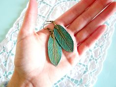 Woodland Patina Teal Leaf Earrings - Boho Spring Nature Inspired Jewelry - Turquoise & Verdigris Antique Brass Long Leaves - Made to Order. €10.50, via Etsy.