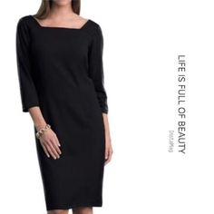 """REFINED AND STYLISH PONTE DRESS IN BLACK This classic dress features a square neck and v-back in a tailored fit. It comes to the knee for most. Three quarter sleeves, front and back waist darts and inverted pleats for a good fit. Polyester/Rayon/Spandex. Machine wash cold. BUST: 43"""" HIPS: 46"""" LENGTH: 40"""" tla2 Dresses"""