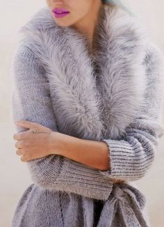 Stylish Turn-Down Collar Long Sleeve Faux Fur Design Belted Cardigan