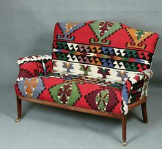 Handwoven Wool Kilim small Sofa armchair chair patchwork | eBay
