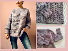 Suéter, jersey a crochet para mujer ¡Fácil y paso a paso! - YouTube Pull Crochet, Knit Crochet, Easy Crochet Patterns, Baby Knitting Patterns, Modelista, Crochet Videos, Crochet Cardigan, Knit Fashion, Crochet Crafts