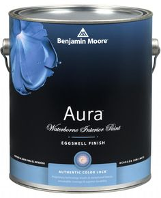 """Benjamin Moore """"Aura - Waterborne Interior Paint - Bath and Spa - Eggshell Finish (524)"""". Available in all colors. Extreme hide and coverage /Mildew resistant /Color Lock technology for exceptional color /No color rub-off/ Stains wash off easily /Easy application/ Paint and primer together /Seamless touch-ups/ Excellent in high-traffic areas/ Long-lasting, fresh look/ Easy cleanup."""