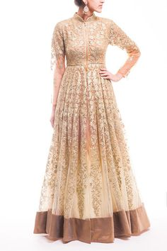 Gold - Light Beige Ombre Gotta Work Anarkali Gown