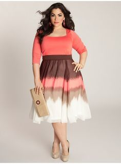 """IGIGI Plus Size Clothing by Yuliya Raquel """"Blythe"""" Dress, $122 via IGIGI.Com --- Make day-to-night dressing easy with an enticing ombre pattern & seductive hues. This high waistband & chiffon A-line skirt with inverted pleats was created to skim and flatter the figure. Coral is a great color for spring & summer. Looks great paired with a nude heel & clutch purse."""