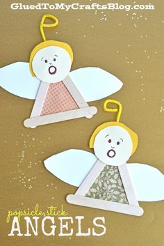 Popsicle Stick Angels - Kid Craft - Glued To My Crafts Christmas Arts And Crafts, Preschool Christmas, Christmas Activities, Christmas Angels, Christmas Projects, Kids Christmas, Holiday Crafts, Toddler Christmas Crafts, July Crafts