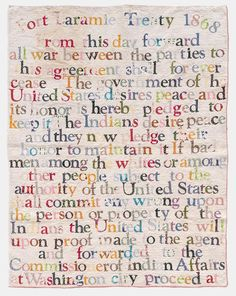 Gina Adams sews text from the American Indian Treaties onto quilts, articulating the deception and violence used to marginalize Native Americans in the formation of the United States.
