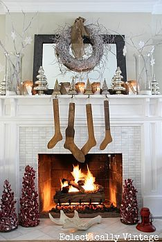 Winter White Christmas Mantel #Bestof2012