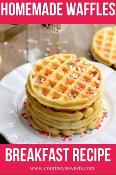 Easy Homemade Waffles Recipe for a fun family breakfast! Thick, crispy, fluffy, waffles at home! Our waffle batter can be used for big waffles or mini waffles. Waffle Batter Recipe, Best Waffle Recipe, Waffle Maker Recipes, Recipe For Waffles, Waffle Recipe From Scratch, Breakfast Waffles, Breakfast Dishes, Breakfast Recipes, Mexican Breakfast