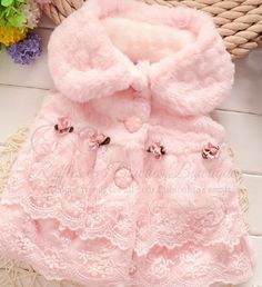 Gorgeous Cream Faux Fur and Lace Girls Trendy Vests - Baby Vest Pink