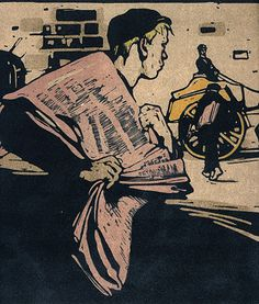 """News-Boy,"" bookplate by Sir William Nicholson (aka Beggarstaff along with James Pryde), 1898"