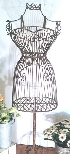 Charming French Shabby Chic Cottage Rustic Metal Ornate Decorative Mannequin Dress Form