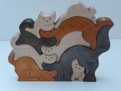 Stacked Cats and Mouse by WhirlingWood on Etsy