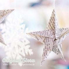 Stampin' Up! – Origami Star – Video Anleitung ❤ Stempelwiese Stampin 'Up! Origami Diy, Origami Simple, Useful Origami, Origami Tutorial, Origami Paper, Dollar Origami, Origami Instructions, 3d Christmas, Christmas Origami