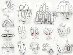 25 Creative and Funny Art - Everyday Objects Into Imaginative Illustrations by Victor Nunes Ipad Art, High School Art, Middle School Art, Funny Drawings, Pencil Drawings, Ipad Kunst, Vincent Bal, Paper Clip Art, Simple Line Drawings