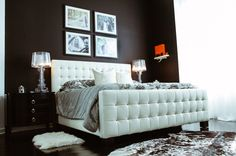 The CHICago Life Blog toured fashion stylist/blogger Helen Berkun's home--features our West Street Bed & Faux Cowhide Rug.