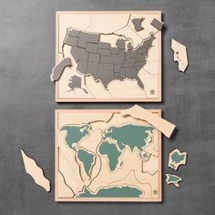 Wooden Puzzles Set of 2 - World/United States of America - Hearth & Hand™ with Magnolia : Target