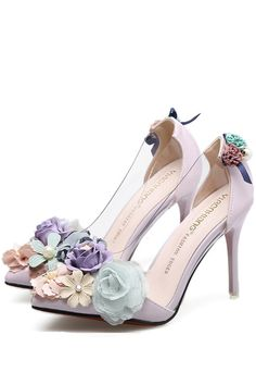 Light Pink Clear Faux Pearl Floral Decor Pointed Toe Stiletto High Heels - Who run the world? Girl's on heel's - High Heels Boots, Lace Up Heels, High Heels Stilettos, Stiletto Heels, Floral Heels, Shoes Heels, Heel Boots, Floral Lace, Frauen In High Heels