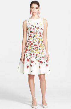 Oscar de la Renta Floral Print A-Line Dress
