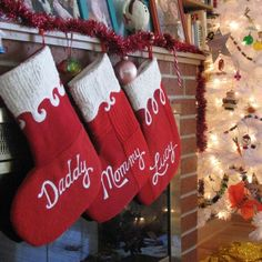 Christmas Stocking Set of Four  Red Script by handmadepretties, $168.00