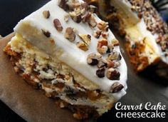southern fried gal: Time Out Tuesdays: Carrot Cake Cheesecake Carrot Cake Cheesecake, Cheesecake Recipes, Dessert Recipes, Cheesecake Bars, Yummy Recipes, Sweet Recipes, Just Desserts, Delicious Desserts, Yummy Food