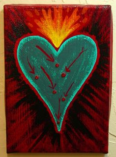 Heart Painting Sacred heart painting Lady by GlassEnamelbyJulie, $55.00