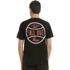 Hot Topic Fall Out Boy Baseball Logo T-Shirt ($21) ❤ liked on Polyvore featuring men's fashion, men's clothing, men's shirts, men's t-shirts and mens baseball shirts