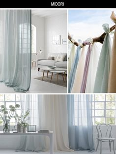 Clarke and Clarke Midori A beautiful wide width linen sheer in 47 delicate shades. Perfect for elegant drapes and soft furnishings, the calming colours are inspired by nature and complement any décor style. Soft Furnishings, Beautiful Blinds, Decor Styles, Elegant Drapes, Home Decor, Beautiful Curtains, Basic Shower Curtain, Blinds, Furnishings