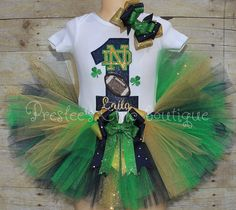 Notre Dame Birthday tutu outfit, Notre Dame football tutu outfit, Notre Dame football tutu set! Add your child's name and age:)