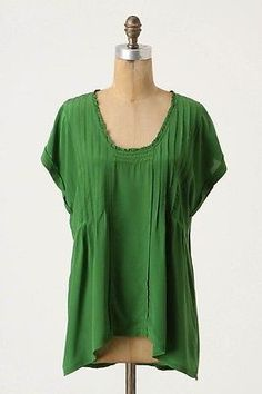 $37.98 #Anthropologie Sudden Downpour Green Silk Blouse by Lil, Beautiful! Sz Large