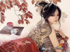 tattoos women dragons back dragon tattoo anime black hair Xiao Bai Film Anime, Art Anime, Anime Kunst, Anime Music, Fantasy Boy, Fantasy Sketch, Fantasy Women, Illustration Manga, Illustration Art Nouveau