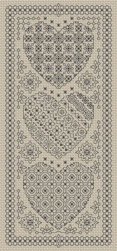 Blackwork Embroidery Chart Heart Sampler PDF Chart