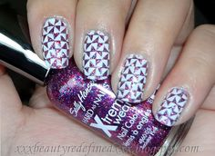 NOTW - Glitters and Triangles + Swatches of Sally Hansen Rockstar Pink | LUUUX    Pinned on behalf of Pink Pad, the women's health mobile app with the built-in community