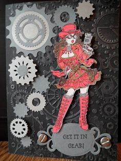 Get it in Gear, steampunk card
