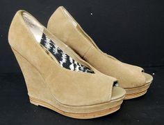 Seychelles Wedge Open toe Peep Shoes Suede Tan Sz 6.5 High Heel | Clothing, Shoes & Accessories, Women's Shoes, Heels | eBay!