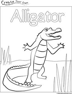 Free download for an alligator coloring page