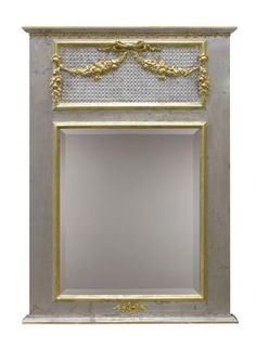 AFK's Trumeau Mirror, shown in Silver Finish with Gold Gilding with optional moulding and caning.  Available in any AFK Finish.  #mirror #afk