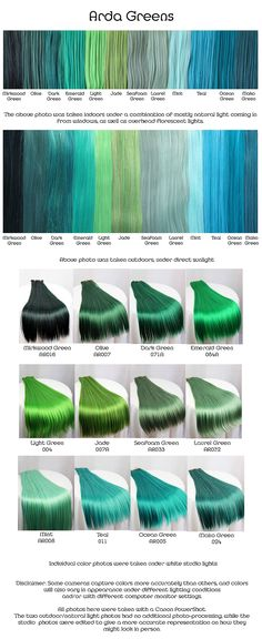 Arda greens, wig fiber color pallette.