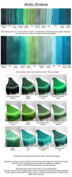 Arda greens, wig fiber color pallette.
