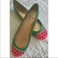 """HP / PM PICKKate Spade Watermelon Flat, Jade In a fresh blend of bright green and pink, the whimsical watermelon motif of this Kate Spade New York flat is always in season. Round cap toe with crystal accents. 1/4"""" flat stacked heel. Braided patent leather trim. Leather lining, padded footbed and sole. Made in Italy. Very good condition, worn once. HOST PICK: """"Girly Girl"""" Party, 9/4 kate spade Shoes"""