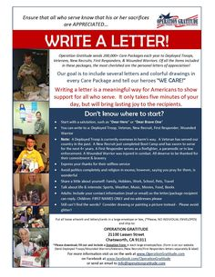 Our troops and veterans deserve our thanks and support. Operation Gratitude will send them your letters in our care packages!