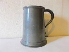 Vintage English Pewter Tankard Silver Metal Mug by Retromagination