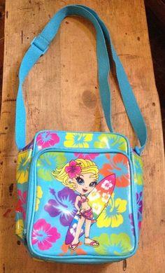 Lisa Frank Surfer Girl Vinyl Insulated Lunch Bag purse EUC
